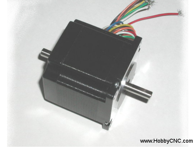 HobbyCNC 23-130-DS8 185 oz-in bipolar rating, 130 oz-in unipolar rating. 2.6v, 2.1A, 200 S/R, 2.1mH, Size #23, Dual Shaft, 8 wire