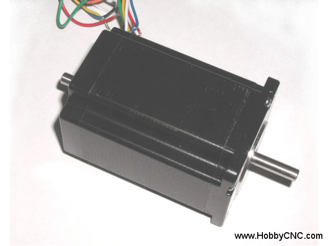 HobbyCNC 23-305-DS8A 425 oz-in bipolar rating, 305 oz-unipolar rating, 4.2v, 3A, 200 S/R, 3.2mH, Size #23, Dual Shaft, 8 wire