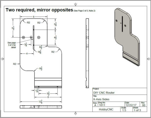 HobbyCNC DIY CNC Router Plans Rev 03 X-Axis Side detail drawing